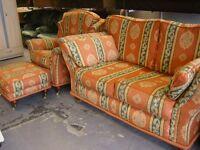 3 Piece Suite. Highback Large 2 Seater Sofa Settee & Armchair & Footstool in Orange Regency Stripe
