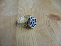 Pentagram locket ring, 925 sterling silver