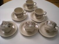 POOLE POTTERY 'MANDALAY' PATTERN COFFEE CUPS & SAUCERS