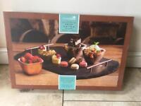 Copper and slate serving platter 3 porcelain bowls tray kitchen dinner