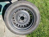 "BMW Spacesaver 5 Stud 15 "" Wheel with Continental Tyre, (Unused)."