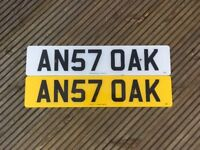 PRIVATE NUMBER PLATE 'AN57 OAK' FOR SALE.