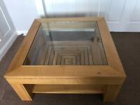 M and S OAK COFFEE TABLE WITH GLASS