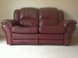2 seater leather burgundy sofa BARGAIN