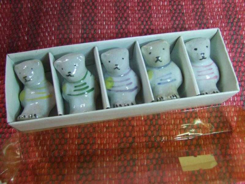 Set  of 5 Japanese bear chopstick rests hashioki  MIB