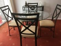 Glass & dark bronze dining table, 4 chairs & console