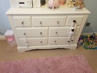 Wardrobe and chest of drawers in excellent condition (white). Less than 12 months old . £250 ovno