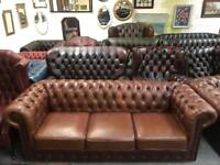 Stunning brown chesterfield 3 seater sofa UK delivery