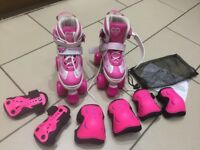 Rookie kids adjustable quad roller skates. Pulse pink/white