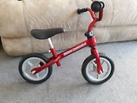 Balance Bike Chicco red bullet - used once indoors only