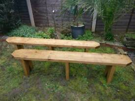 Pair of wooden dining benches