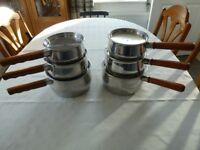 2 Sets of Copper Bottom Saucepans