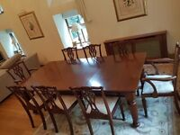 Dinning Table - Mahogany With 2 xtenion Leaves + 6-Chairs + 2-Armchairs