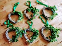 6x wricker hearts, artificial flower