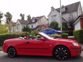 (2006) SAAB 9-3 VECTOR SPORT AUTO CONVERTIBLE RED ONE LADY OWNER, GENUINE LOW MILEAGE, FSH, 9 STAMPS