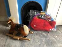 baby play matt activity toy rocking horse toy