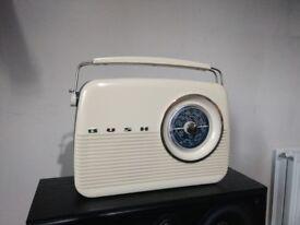Bush cream and dark blue radio, classic retro style with world stations dial