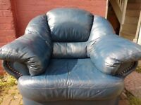 Real Leather Blue Armchair / Sofa