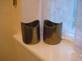 Two Matching Heavy Brass Vases