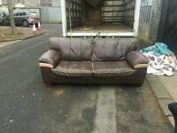 3 seater sofa in brown leather £125 delivered