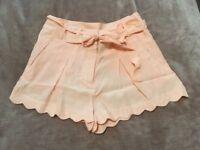 Newlook Scallop Peach Shorts -Size 8