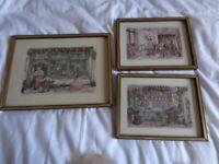 3 x oak framed Anton Pieck prints
