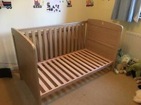 John Lewis Cot/Cot Bed together with mattress and duvet