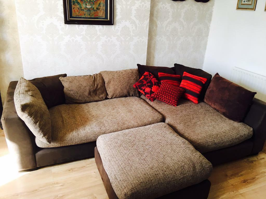Large DFS Corner Sofa With Foot Stool Two Years Old