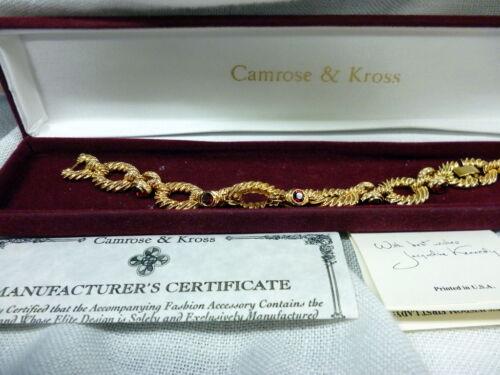 JACQUELINE KENNEDY RED EDGE GOLD ROPE CRYSTAL LINK BRACELET CAMROSE & KROSS BOX
