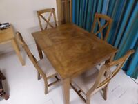 DINING TABLE - EXTENDABLE, WITH 6 CHAIRS. MADE OF MANGO WOOD