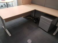 Executive maple office desk with extension and pedistal