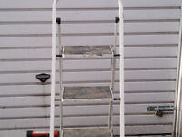 METAL STEP LADDER WHITE FOLDING 4 foot 8 inch tall good condition £30 ovno