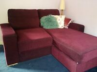 Plum chenille chaise sofa bed, good condition