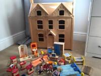 Pintoy wooden dolls house from John Lewis with John Crane furniture in excellent condition