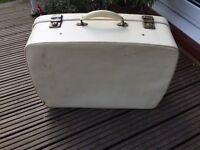 Vintage Retro Antler Suitcase 1950/60s Case Wedding Prop Display Cream