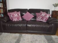 For Sale: Large leather reclining sofa with matching armchair and storage box/footstool in VGC