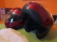 Mens and womens helmets and various clothing items.