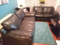 Black Leather Sofas 2+3
