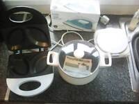 3 x brand new electrical appliances (slow cooker, iron, omelette maker)