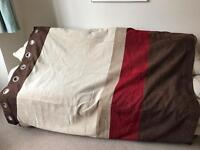 2 pairs of M&S red/brown striped curtains
