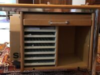L shaped desk with integral drawers and separate set of drawers
