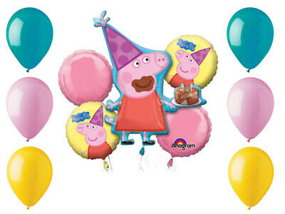 Peppa Pig Balloon Bouquet Birthday Party Supplies Decorations Balloons Favors - Peppa Pig Birthday Balloons