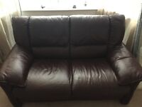 2 seater real leather sofa for sale excellent condition
