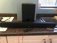 Bush Q5S 100w 2.1 Sound bar with subwoofer inc remote control and Blaupunkt 40'' HD TV