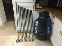 Golf clubs-Titleist Driver plus Fb2 Fairway Wood. Driving Iron, Irons (3-SW) Putter, Bag-Glove &more