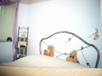 5' Metal Framed bed with filigree leaf design in excellent condition.
