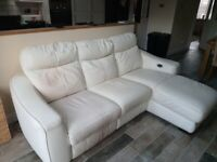 White Leather Double Recliner Sofa
