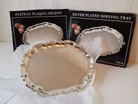 Two Brand New Silver Plated Serving Trays