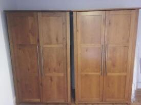 A set of two solid Oak wardrobes