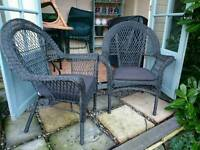 PAIR OF BLACK WICKER ARMCHAIRS - COLLECTION ONLY